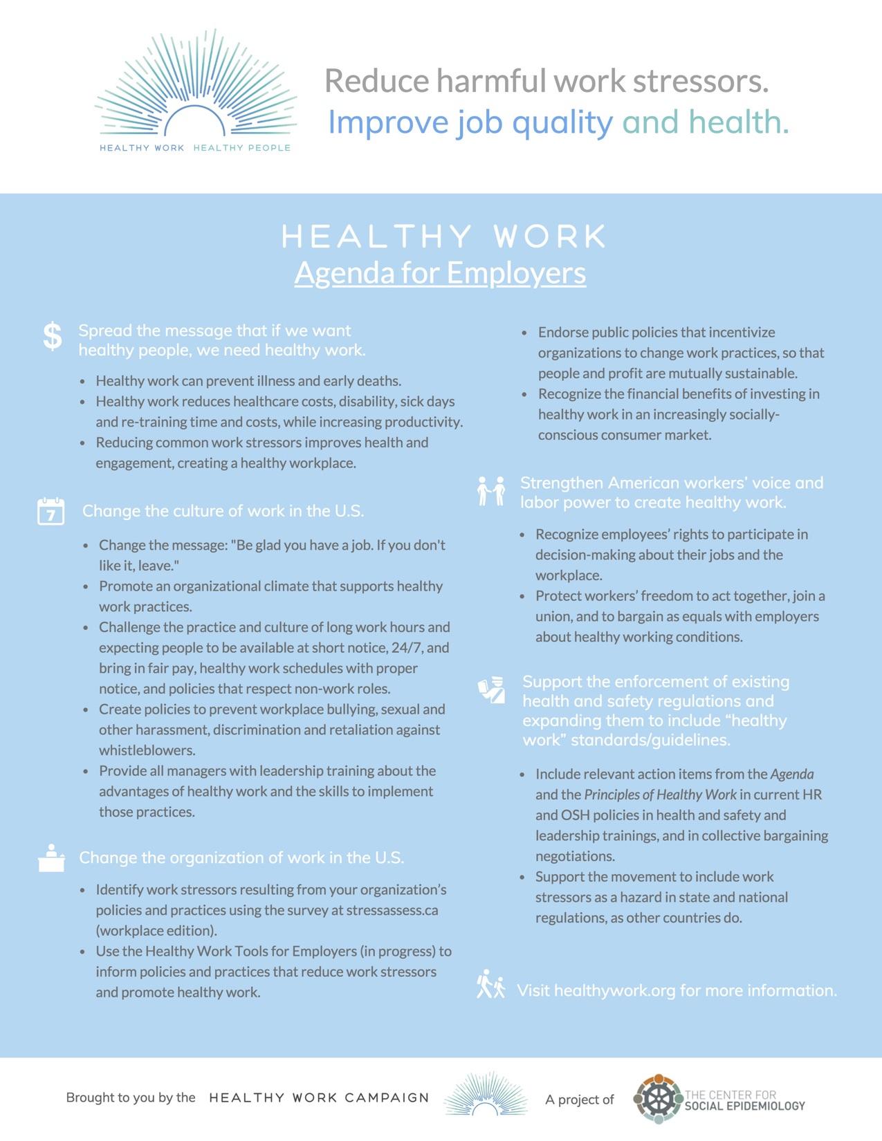 Healthy Work Agenda – Employers - Healthy Work Campaign